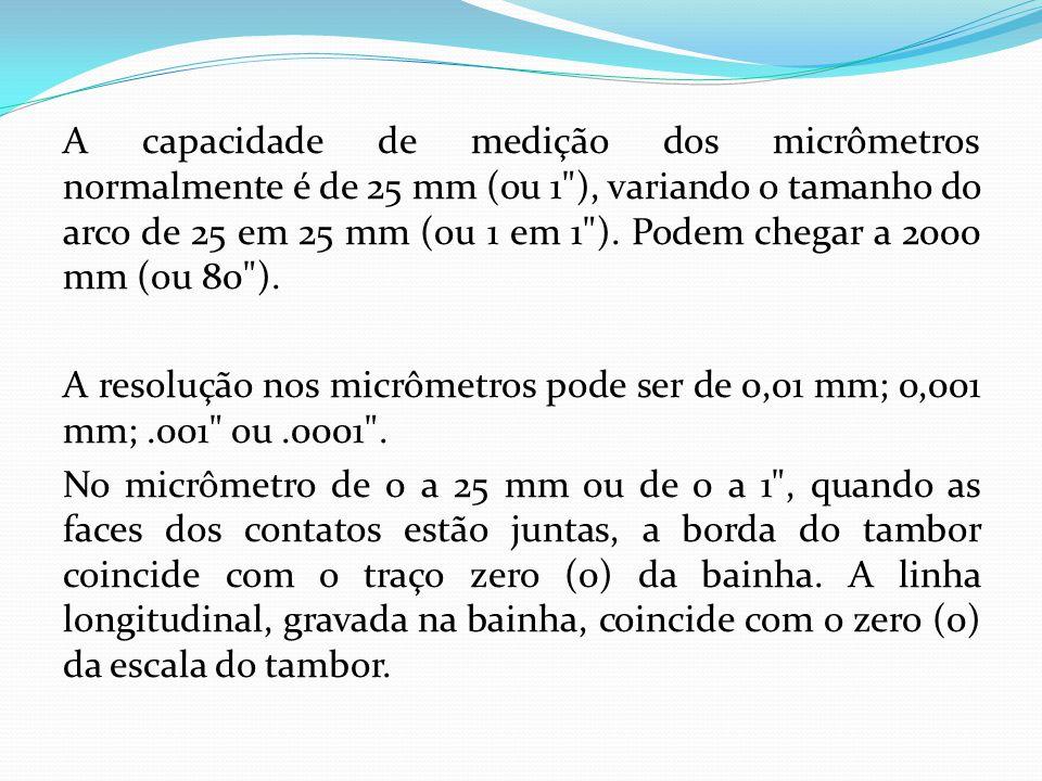 A capacidade de medição dos micrômetros normalmente é de 25 mm (ou 1 ), variando o tamanho do arco de 25 em 25 mm (ou 1 em 1 ).