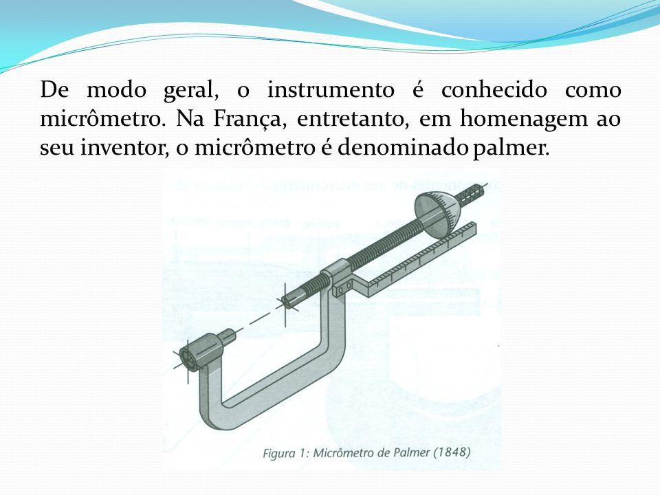 De modo geral, o instrumento é conhecido como micrômetro