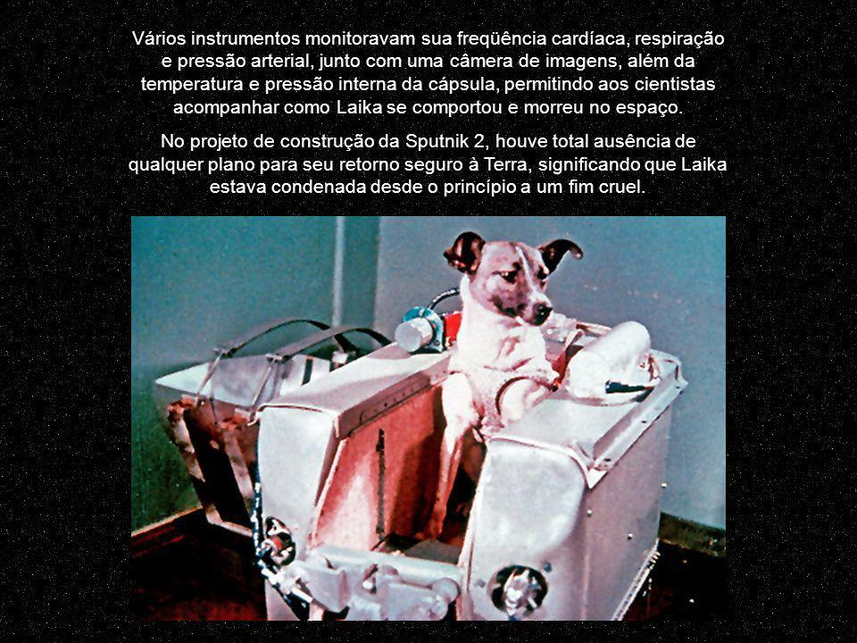 Vários instrumentos monitoravam sua freqüência cardíaca, respiração e pressão arterial, junto com uma câmera de imagens, além da temperatura e pressão interna da cápsula, permitindo aos cientistas acompanhar como Laika se comportou e morreu no espaço.