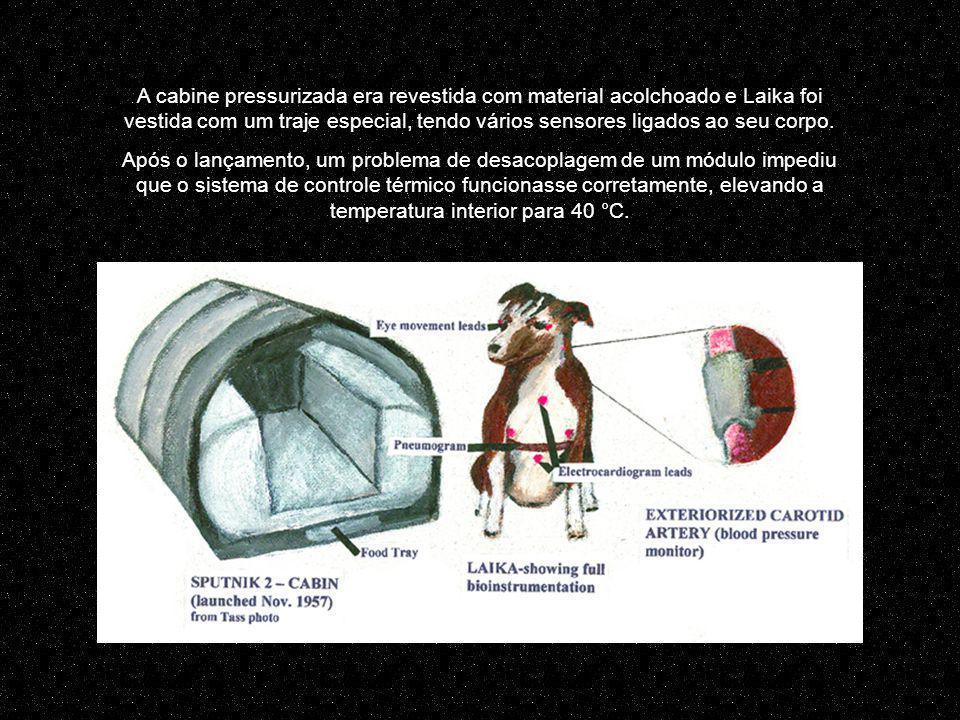 A cabine pressurizada era revestida com material acolchoado e Laika foi vestida com um traje especial, tendo vários sensores ligados ao seu corpo.
