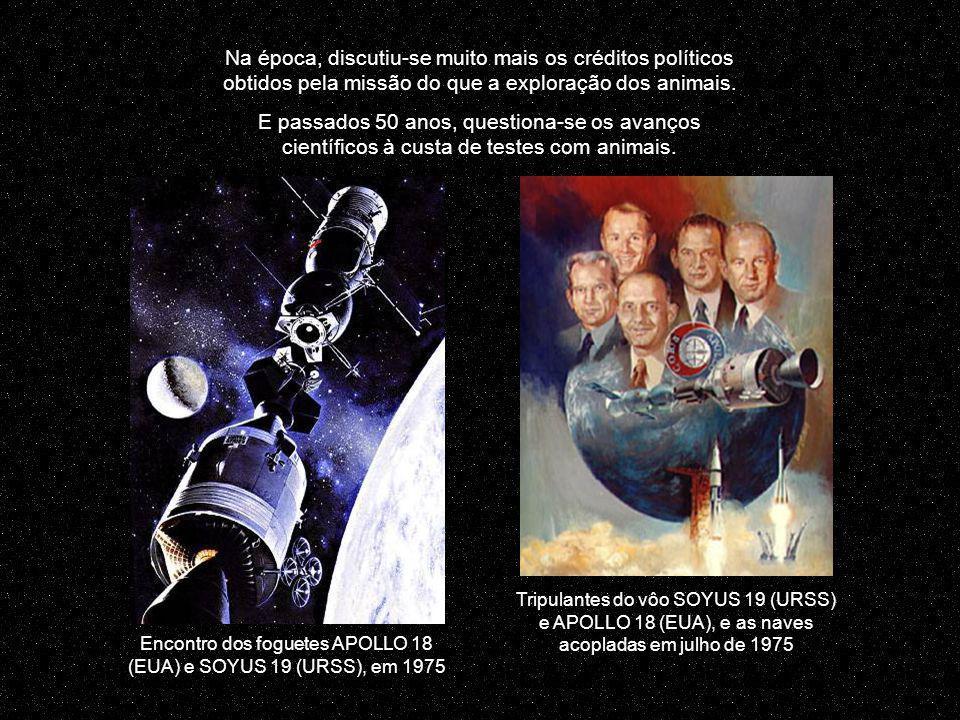 Encontro dos foguetes APOLLO 18 (EUA) e SOYUS 19 (URSS), em 1975