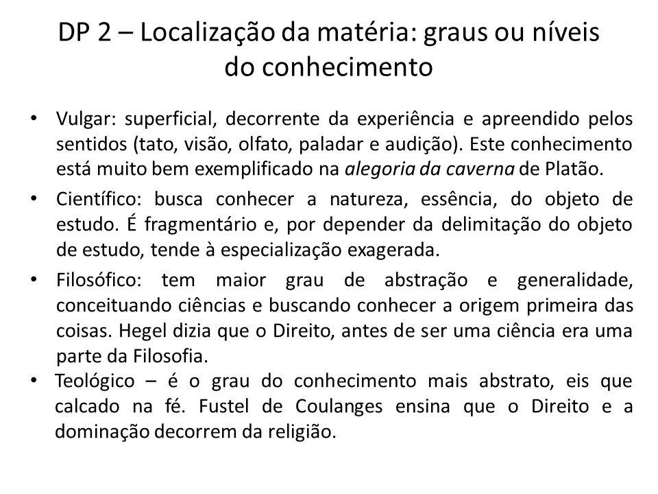 DP 2 – Localização da matéria: graus ou níveis do conhecimento