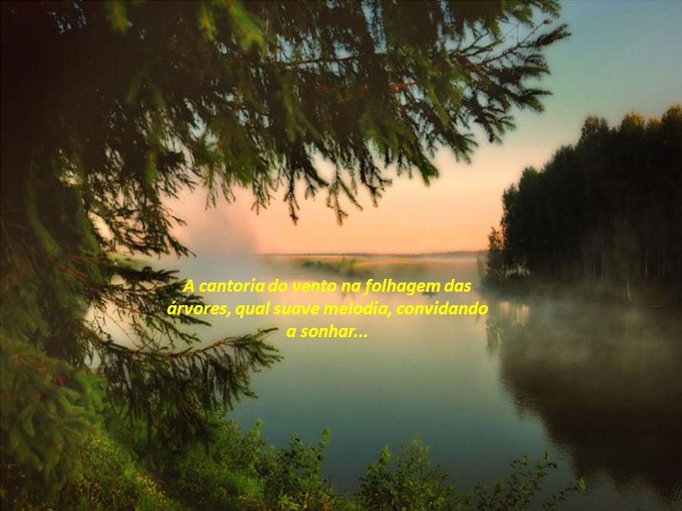 A cantoria do vento na folhagem das árvores, qual suave melodia, convidando