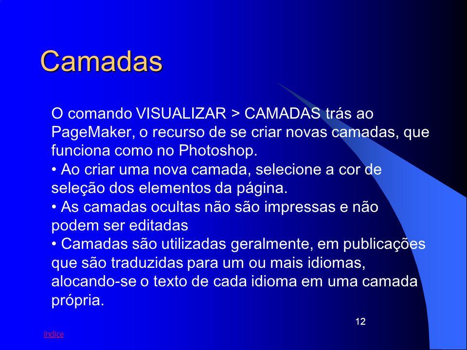 Camadas O comando VISUALIZAR > CAMADAS trás ao PageMaker, o recurso de se criar novas camadas, que funciona como no Photoshop.