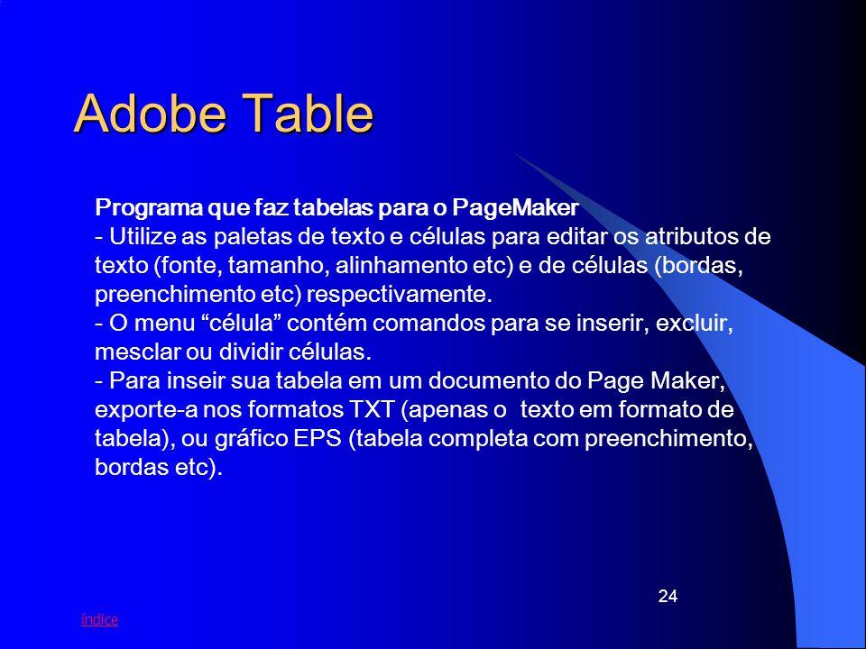 Adobe Table Programa que faz tabelas para o PageMaker
