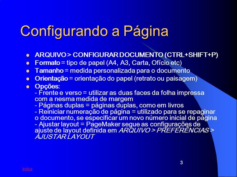 Configurando a Página ARQUIVO > CONFIGURAR DOCUMENTO (CTRL+SHIFT+P)