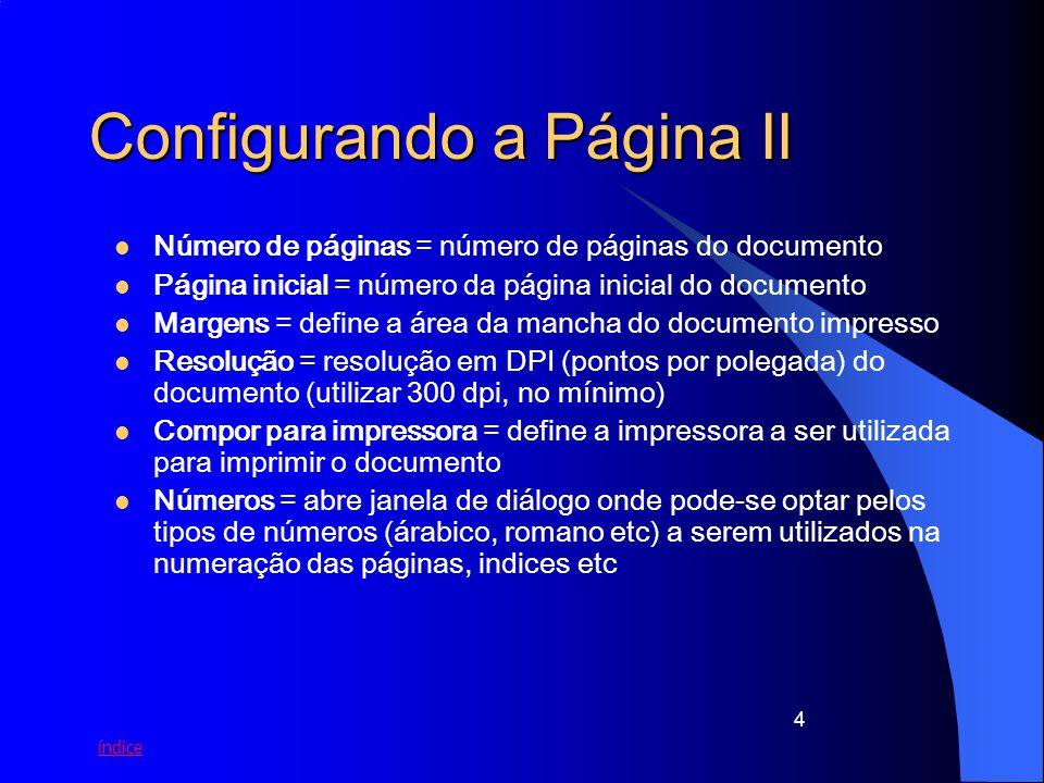 Configurando a Página II