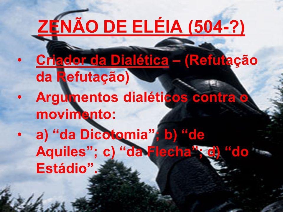 ZENÃO DE ELÉIA (504- ) Criador da Dialética – (Refutação da Refutação)