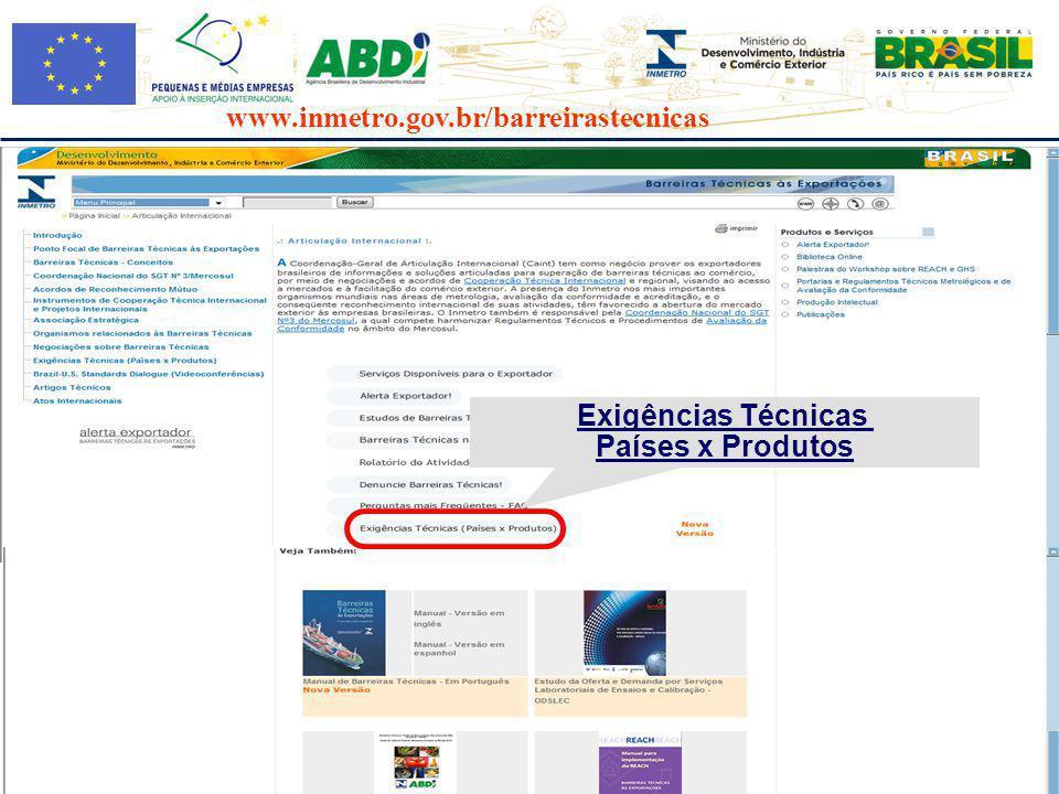 www.inmetro.gov.br/barreirastecnicas Exigências Técnicas Países x Produtos