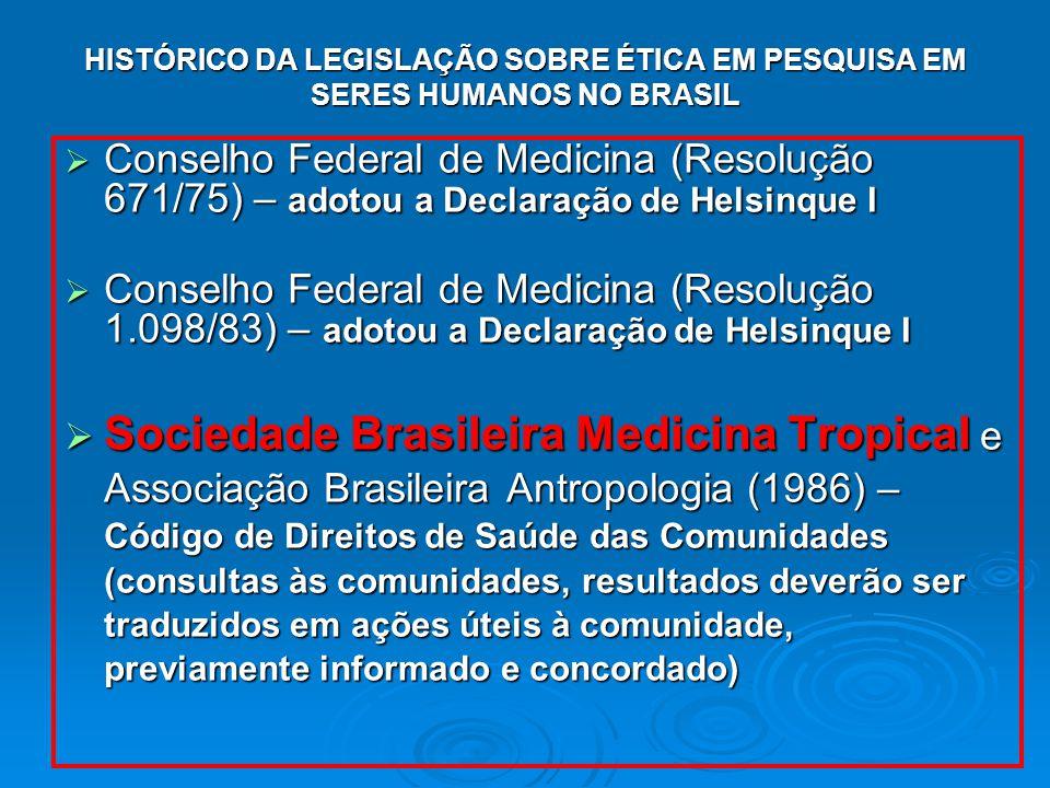 HISTÓRICO DA LEGISLAÇÃO SOBRE ÉTICA EM PESQUISA EM SERES HUMANOS NO BRASIL