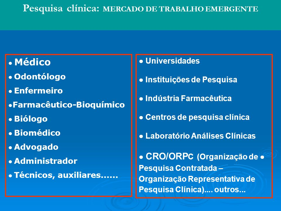 Pesquisa clínica: MERCADO DE TRABALHO EMERGENTE