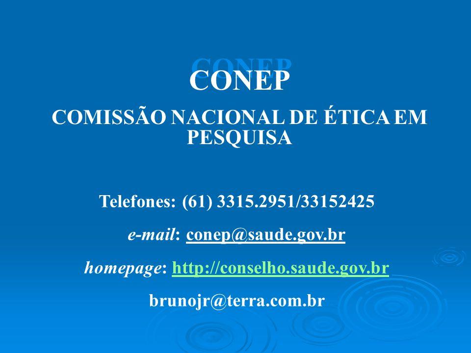 CONEP CONEP COMISSÃO NACIONAL DE ÉTICA EM PESQUISA