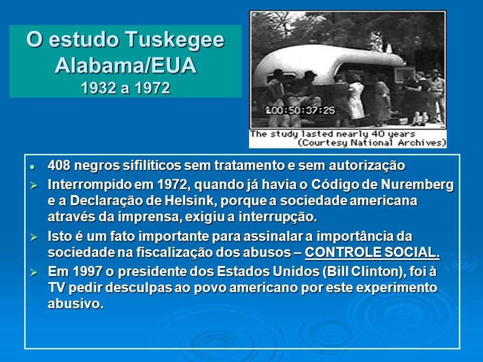 O estudo Tuskegee Alabama/EUA 1932 a 1972