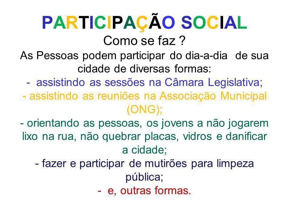 PARTICIPAÇÃO SOCIAL Como se faz