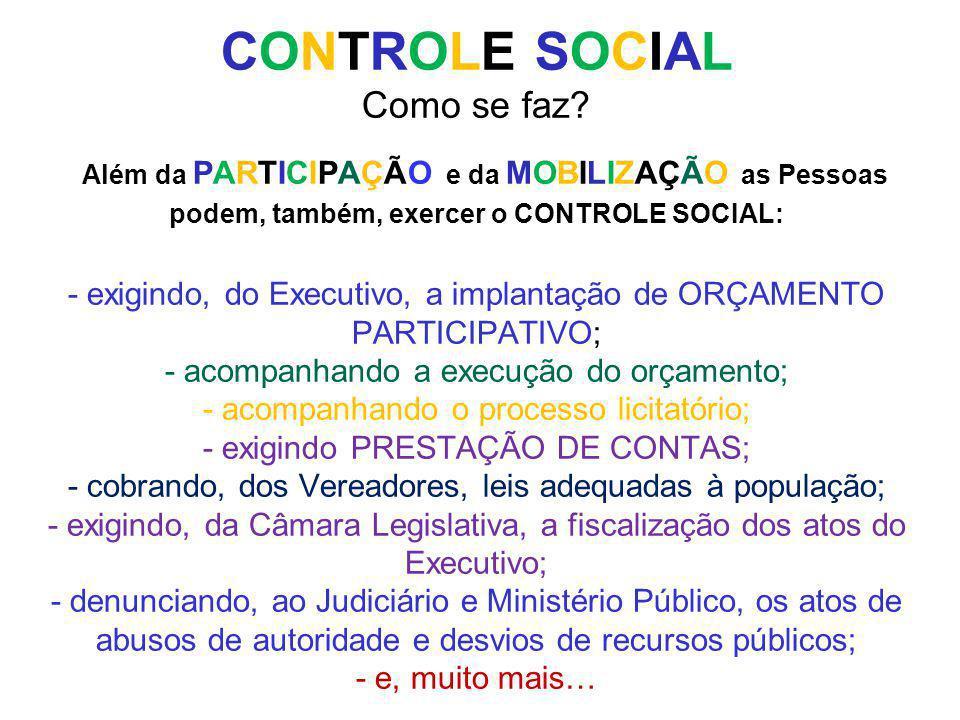 CONTROLE SOCIAL Como se faz