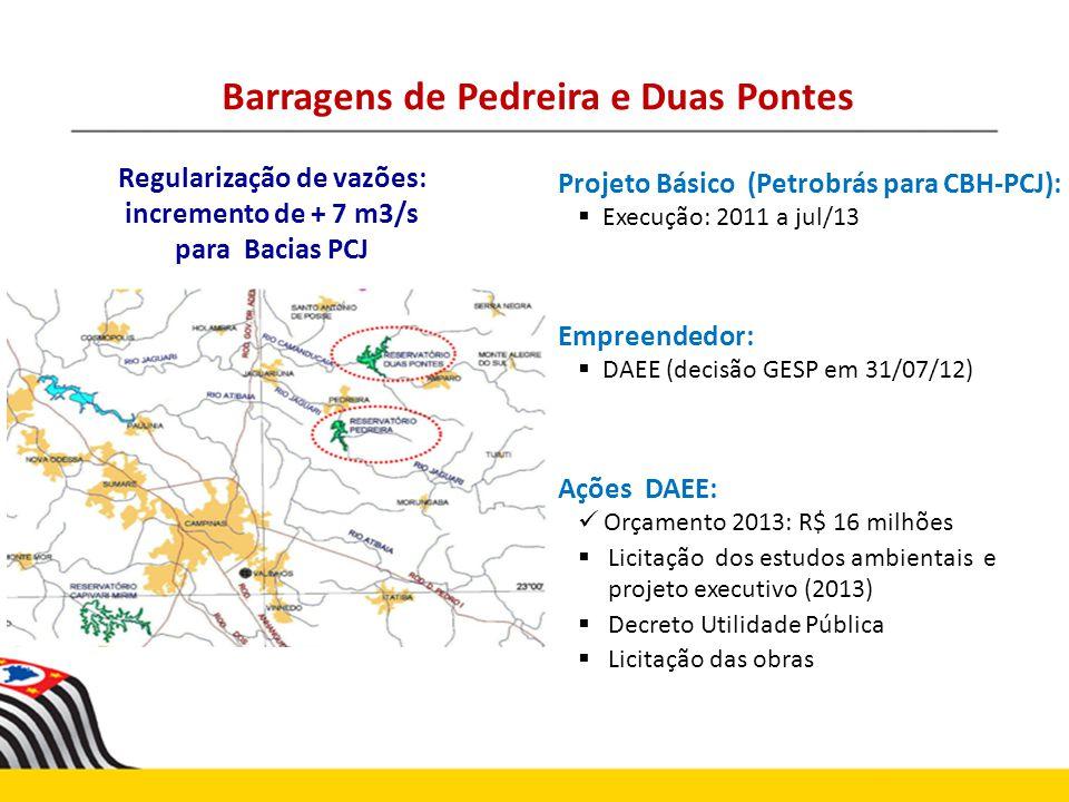 Barragens de Pedreira e Duas Pontes Regularização de vazões:
