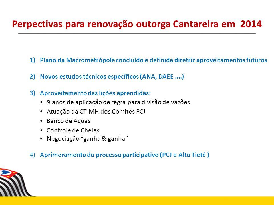 Perpectivas para renovação outorga Cantareira em 2014