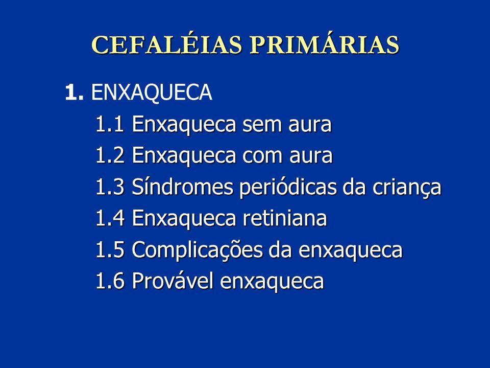 CEFALÉIAS PRIMÁRIAS 1. ENXAQUECA 1.1 Enxaqueca sem aura