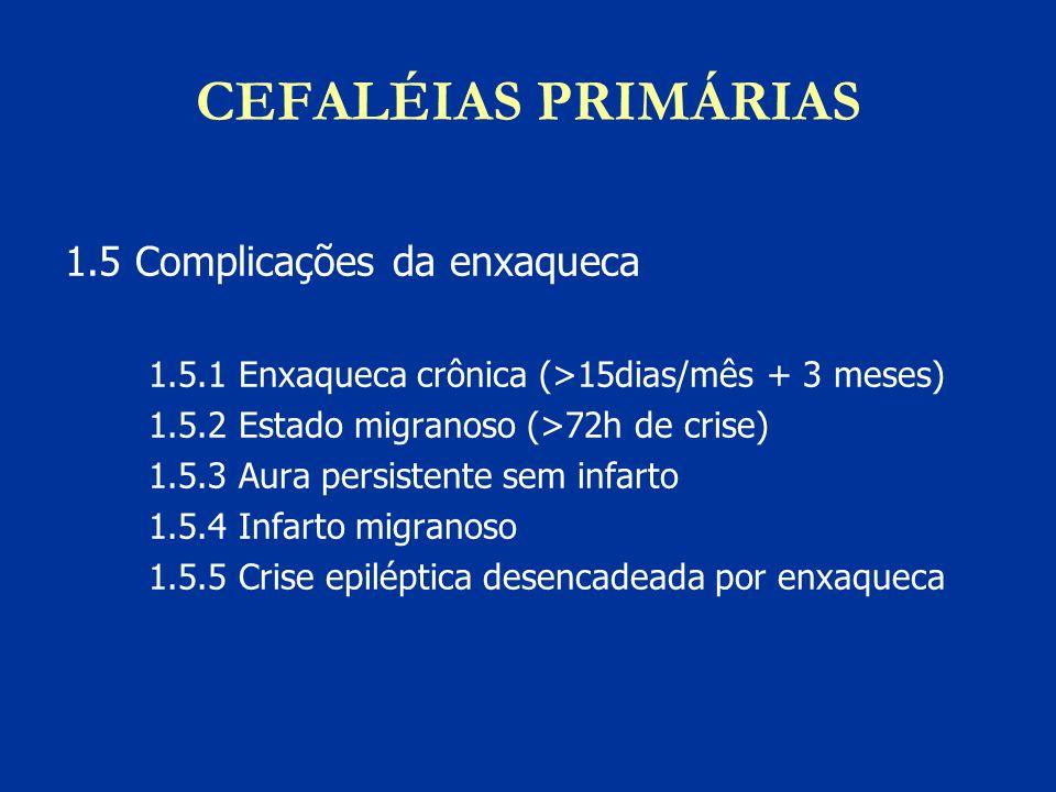CEFALÉIAS PRIMÁRIAS 1.5 Complicações da enxaqueca