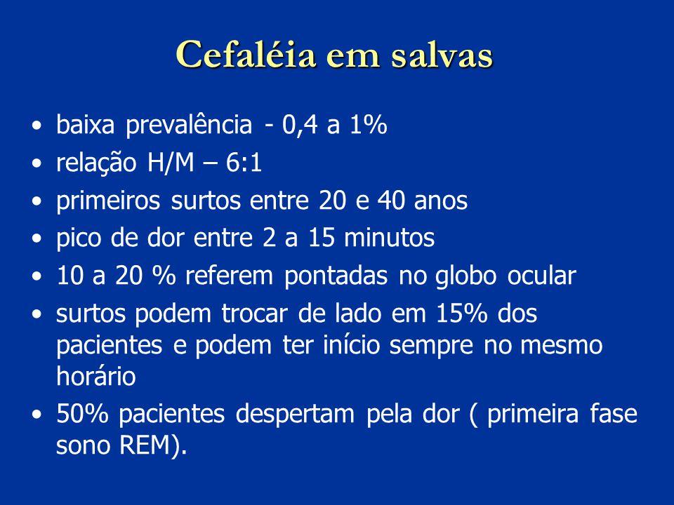 Cefaléia em salvas baixa prevalência - 0,4 a 1% relação H/M – 6:1