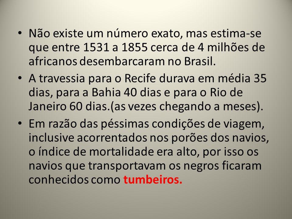 Não existe um número exato, mas estima-se que entre 1531 a 1855 cerca de 4 milhões de africanos desembarcaram no Brasil.