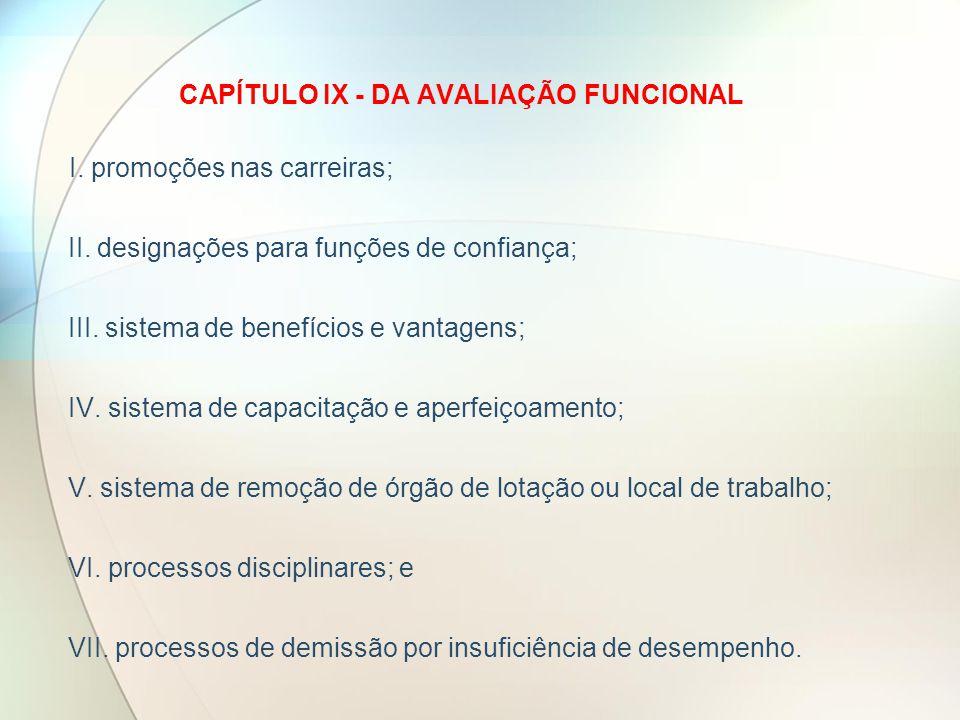 CAPÍTULO IX - DA AVALIAÇÃO FUNCIONAL