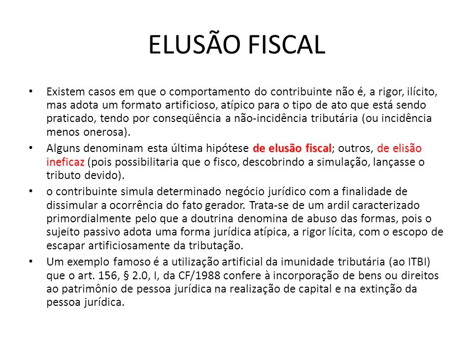 ELUSÃO FISCAL