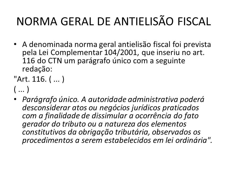 NORMA GERAL DE ANTIELISÃO FISCAL