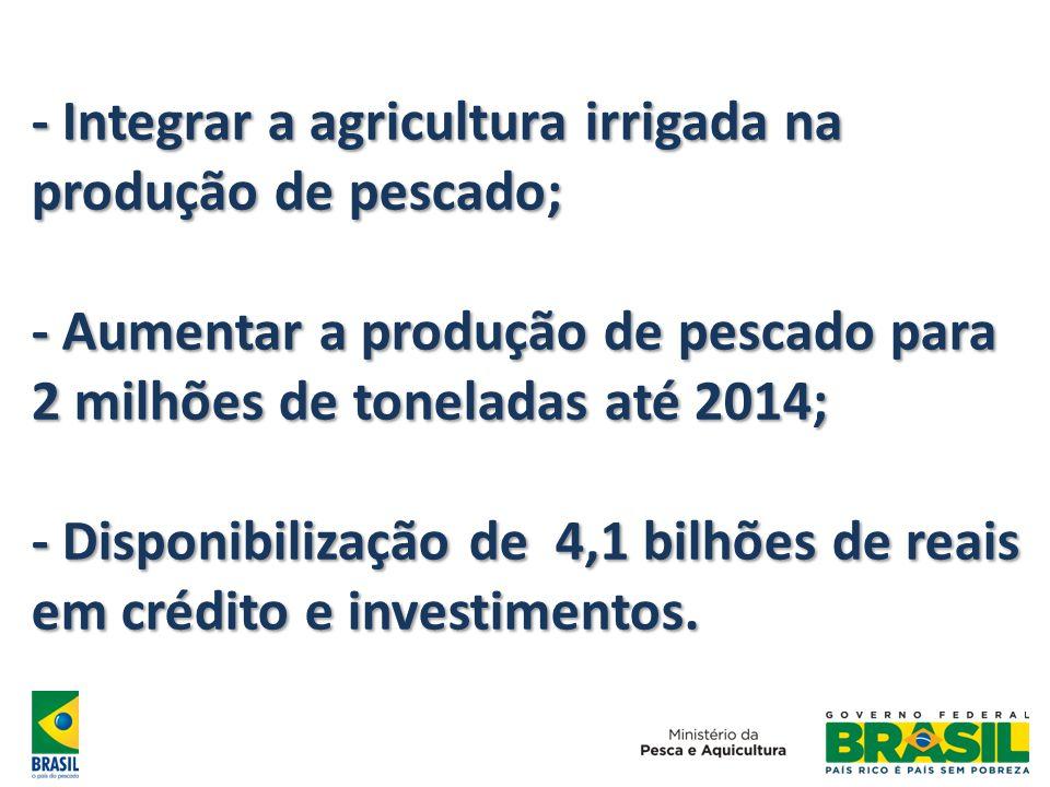 - Integrar a agricultura irrigada na produção de pescado;