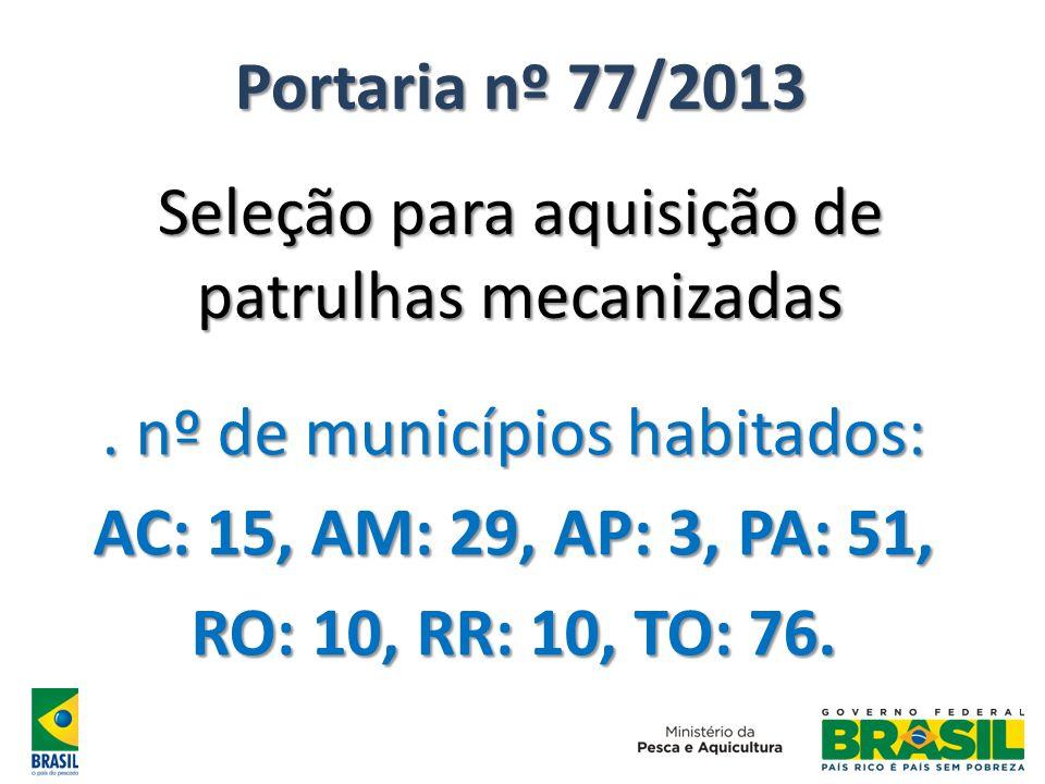 Portaria nº 77/2013 Seleção para aquisição de patrulhas mecanizadas