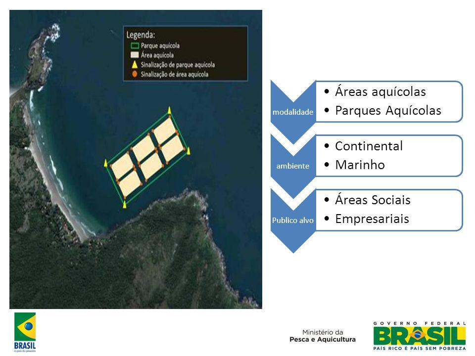 Áreas aquícolas Parques Aquícolas Continental Marinho Áreas Sociais