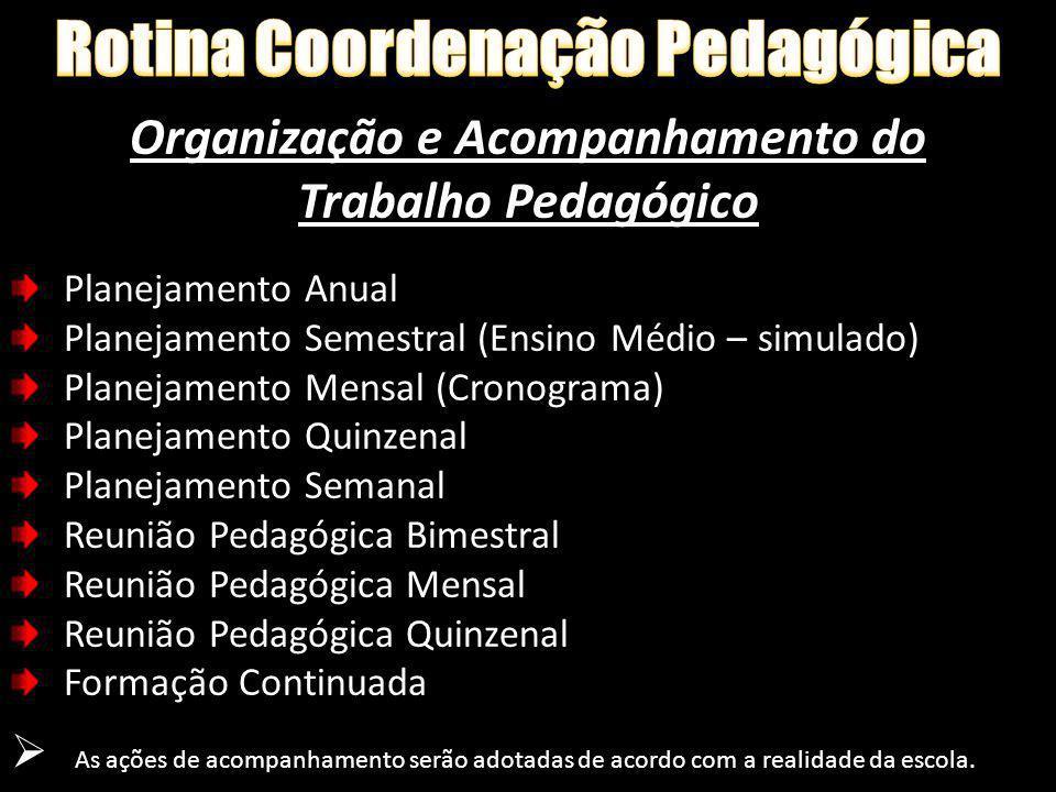 Rotina Coordenação Pedagógica Organização e Acompanhamento do