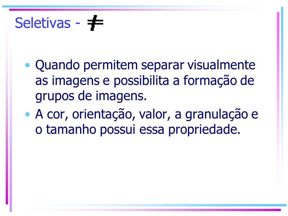 Seletivas - Quando permitem separar visualmente as imagens e possibilita a formação de grupos de imagens.