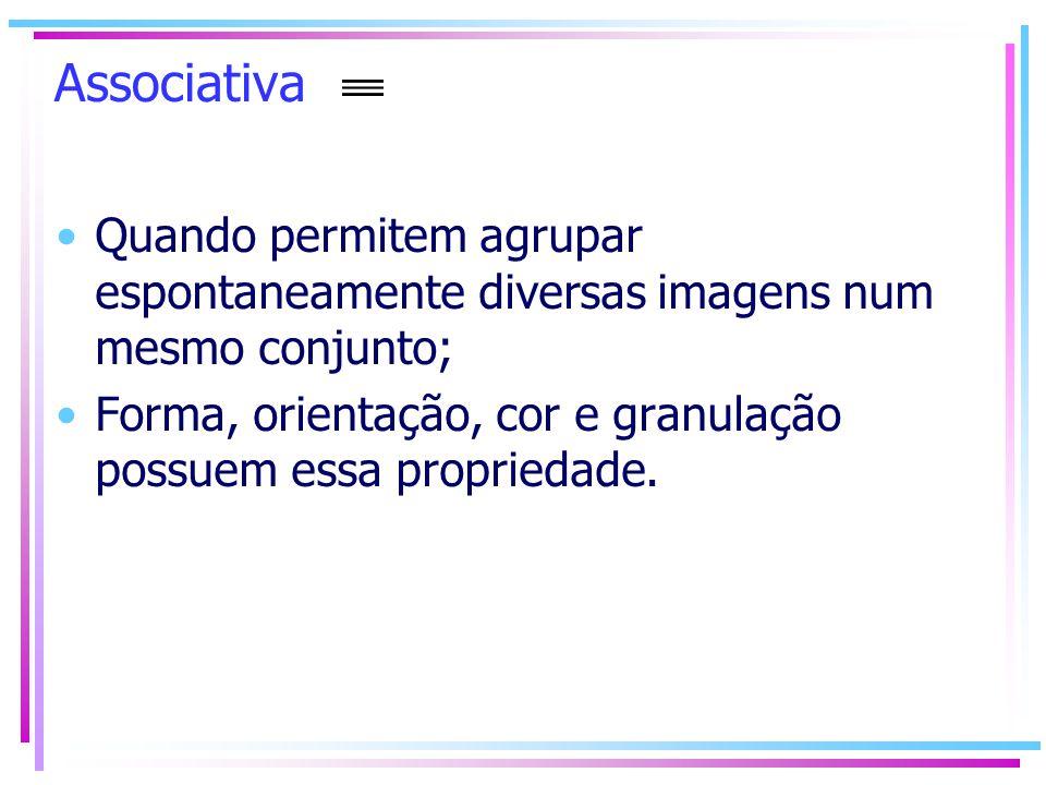 Associativa Quando permitem agrupar espontaneamente diversas imagens num mesmo conjunto;