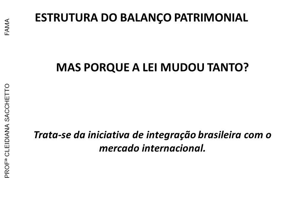 ESTRUTURA DO BALANÇO PATRIMONIAL MAS PORQUE A LEI MUDOU TANTO
