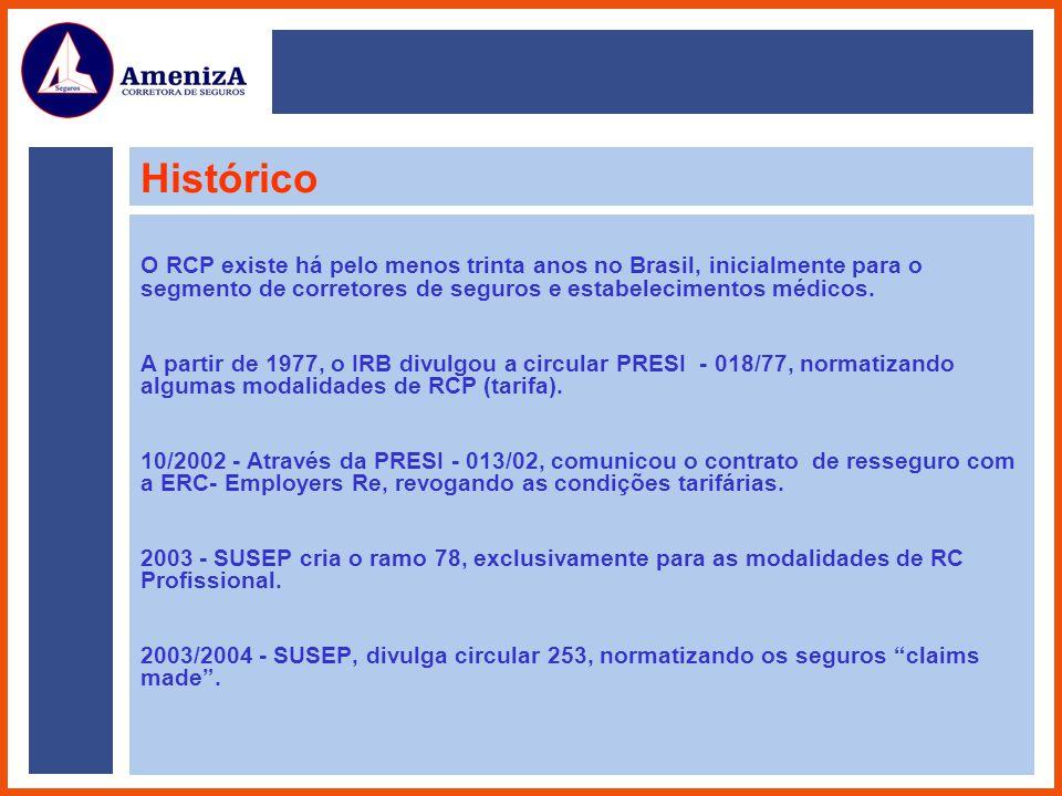 Histórico O RCP existe há pelo menos trinta anos no Brasil, inicialmente para o segmento de corretores de seguros e estabelecimentos médicos.