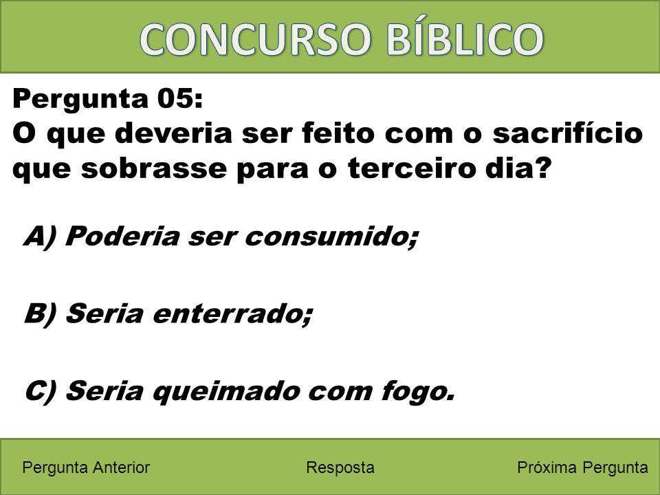 CONCURSO BÍBLICO Pergunta 05: O que deveria ser feito com o sacrifício que sobrasse para o terceiro dia