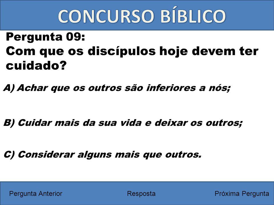 CONCURSO BÍBLICO Com que os discípulos hoje devem ter cuidado