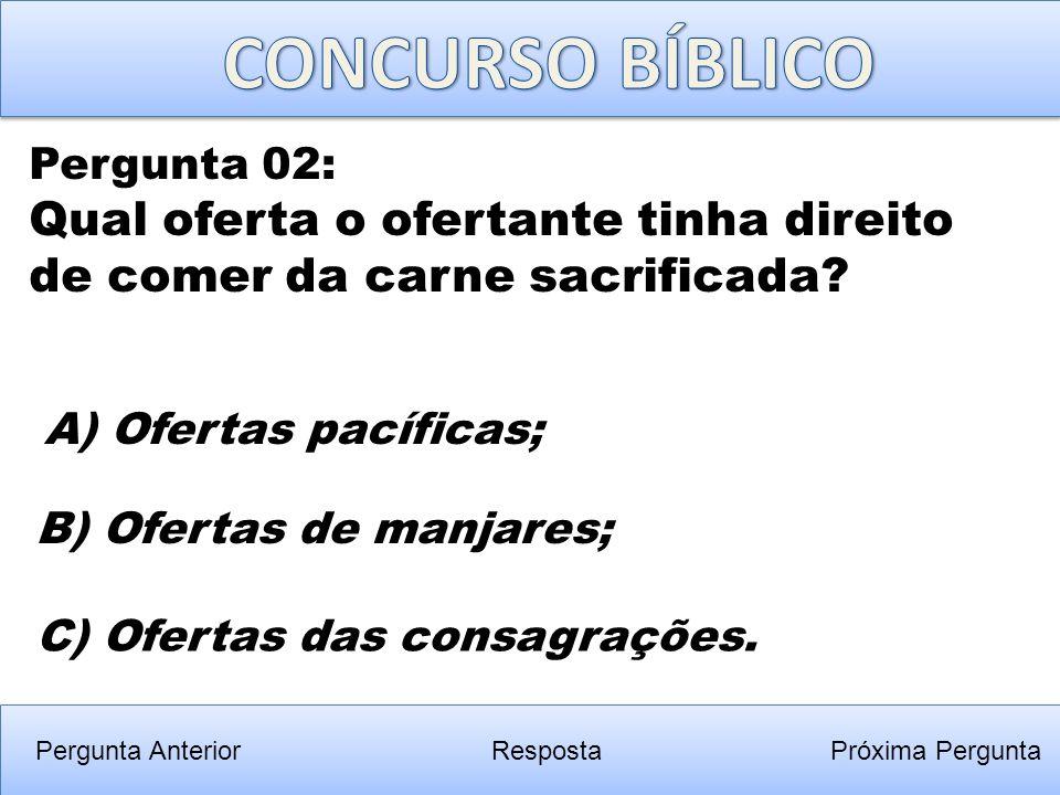CONCURSO BÍBLICO Pergunta 02: Qual oferta o ofertante tinha direito de comer da carne sacrificada