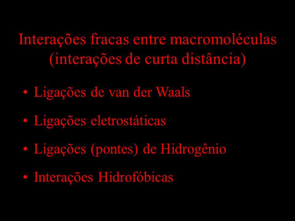 Interações fracas entre macromoléculas (interações de curta distância)