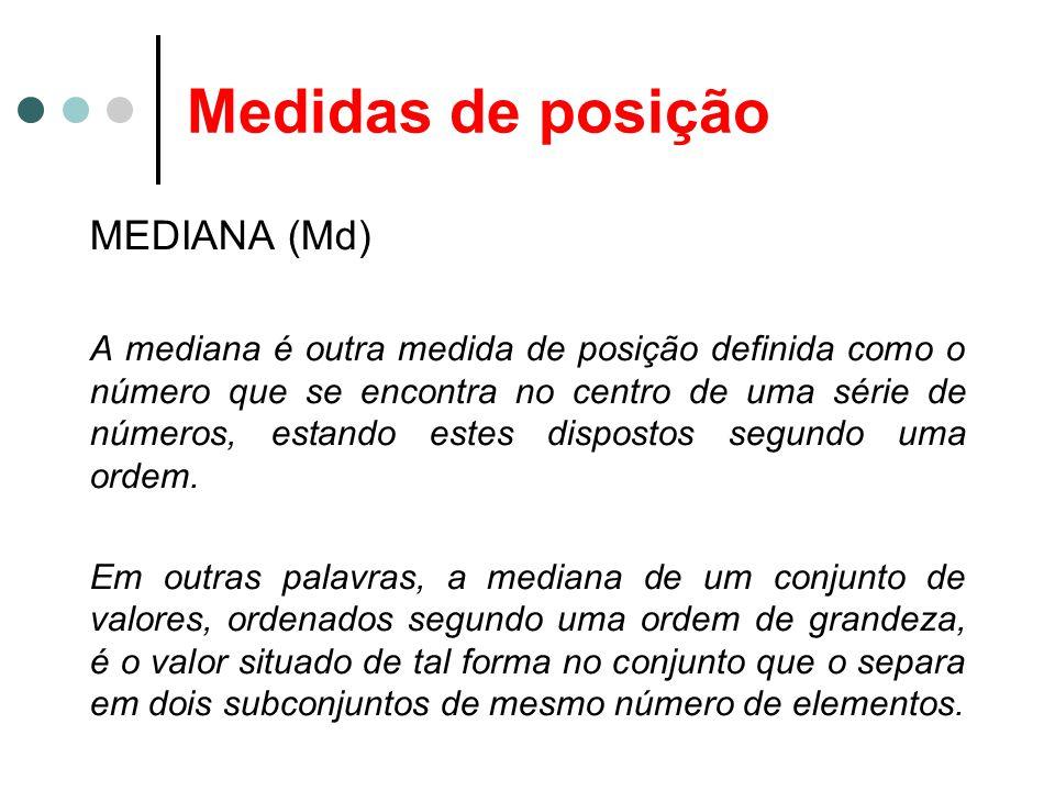 Medidas de posição MEDIANA (Md)