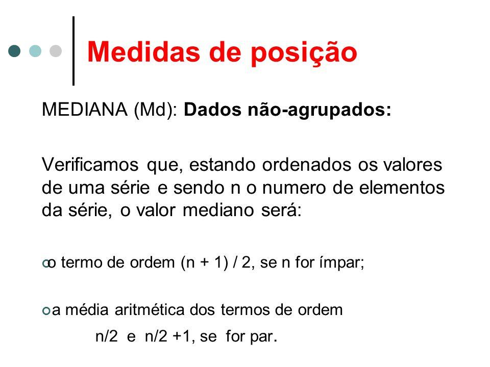 Medidas de posição MEDIANA (Md): Dados não-agrupados: