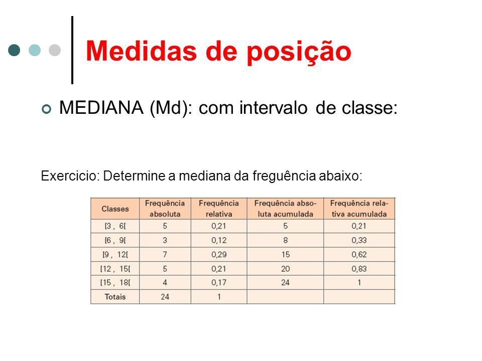 Medidas de posição MEDIANA (Md): com intervalo de classe: