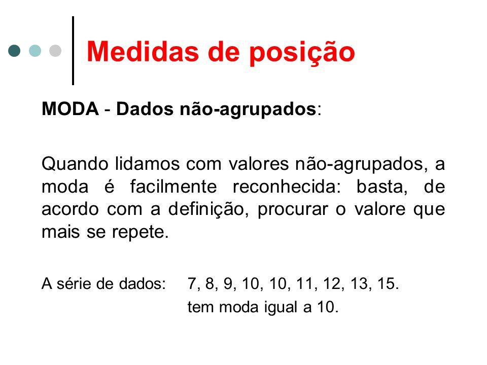 Medidas de posição MODA - Dados não-agrupados: