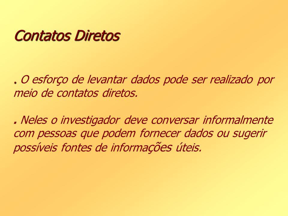 Contatos Diretos . O esforço de levantar dados pode ser realizado por meio de contatos diretos.