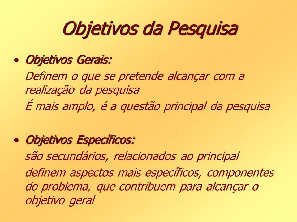 Objetivos da Pesquisa Objetivos Gerais: