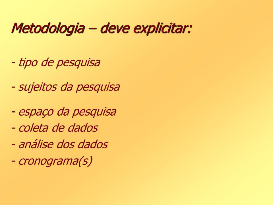 Metodologia – deve explicitar: - tipo de pesquisa - sujeitos da pesquisa - espaço da pesquisa - coleta de dados - análise dos dados - cronograma(s)