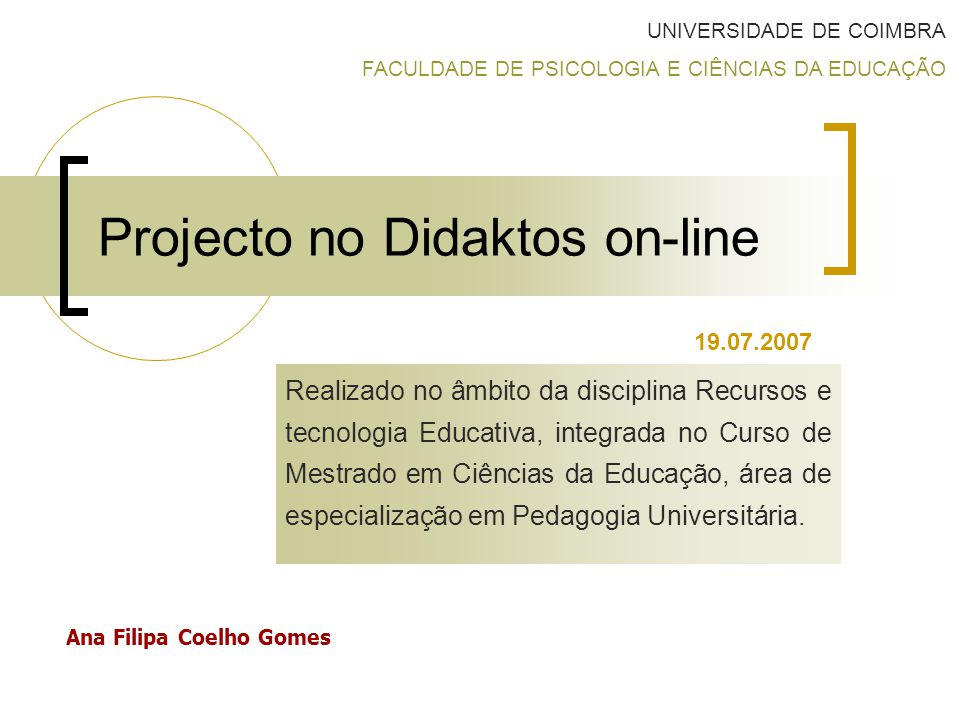 Projecto no Didaktos on-line