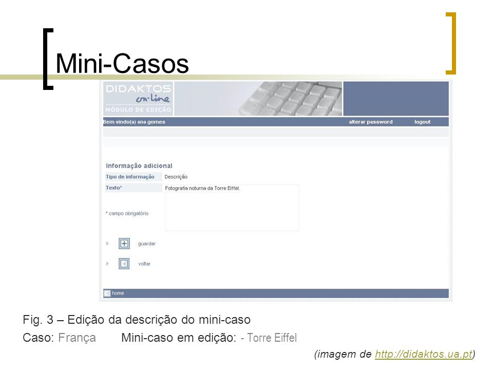 Mini-Casos Fig. 3 – Edição da descrição do mini-caso