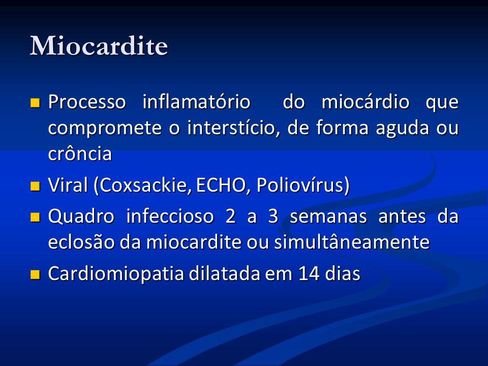 Miocardite Processo inflamatório do miocárdio que compromete o interstício, de forma aguda ou crôncia.